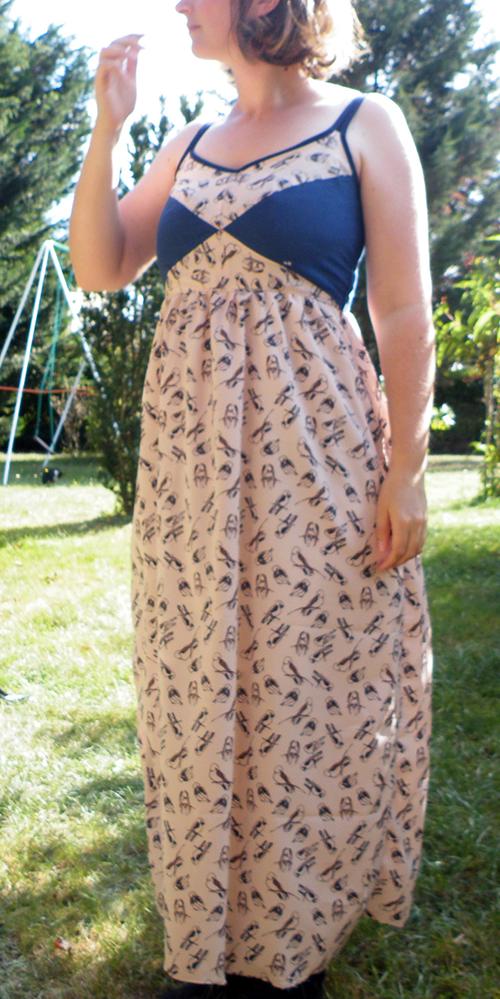robe centaurée motif oiseaux