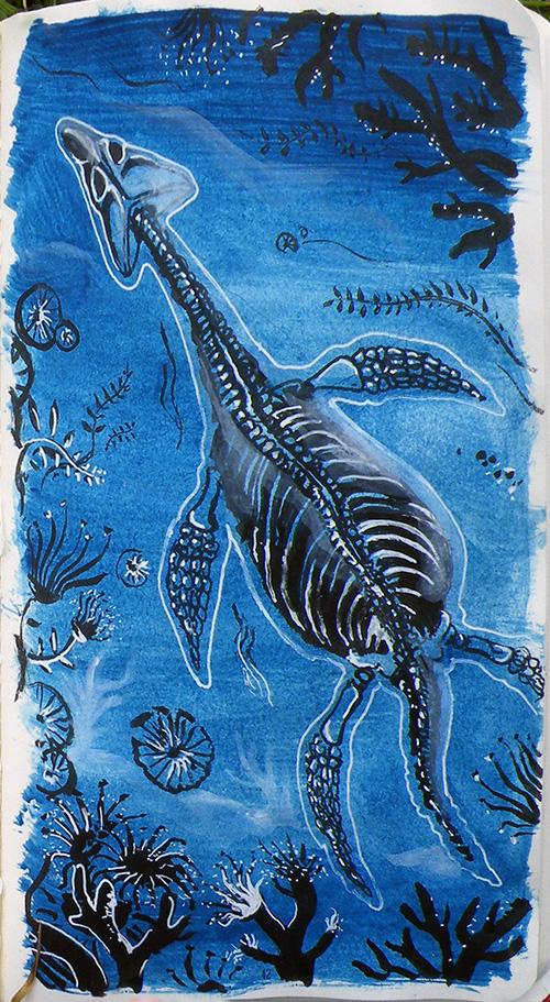 détail du plesiosaure de Daudrouse