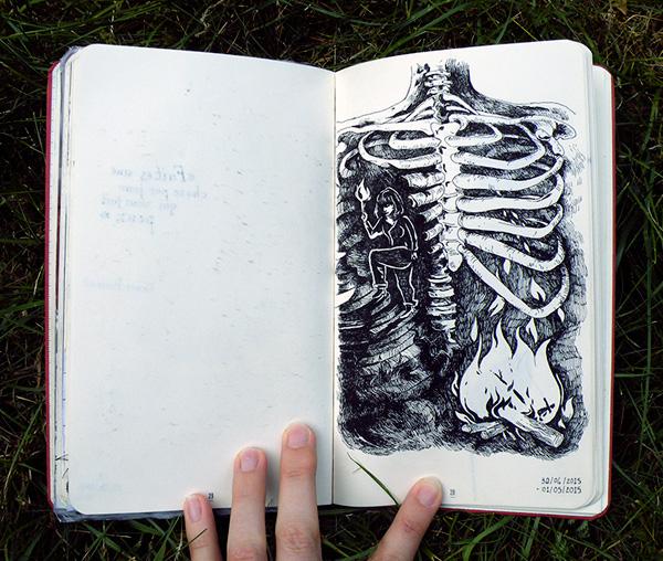 Illustration d'une cage thoracique en feu par Audrey Dugas du Villard