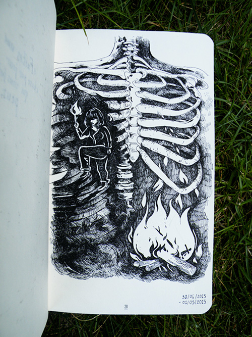 Zoom sur le dessin de la cage thoracique en feu de Daudrouse