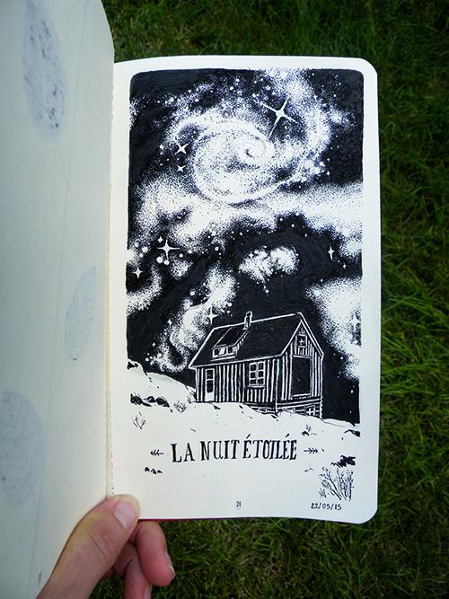 Zoom sur le dessin d'Audrey Dugas du Villard, la nuit étoilée