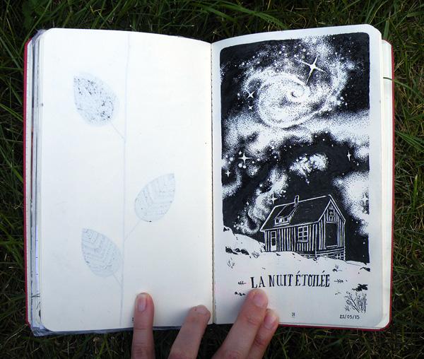 illustration, La nuit étoilée par Audrey Dugas du Villard