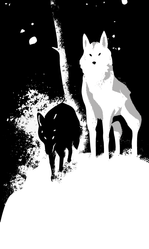Loups de Game of thrones illustré par daudrouse