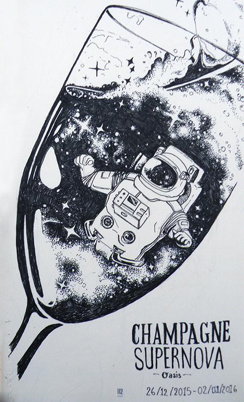 zoom champagne supernova illustré par Audrey Dugas du Villard