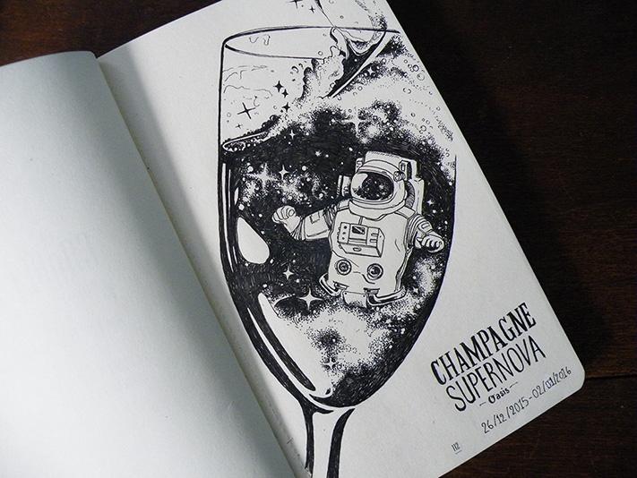 carnet de Daudrouse, Audrey Dugas du Villard, illustration Champagne Supernova - Oasis