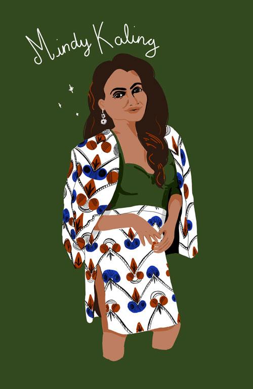 Portrait de Mindy Kaling par Audrey Dugas, Illustratrice à Lyon